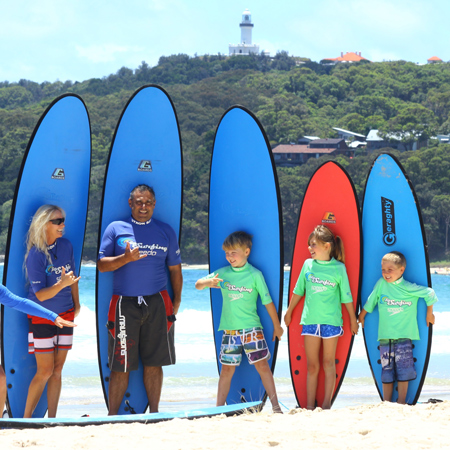 Learn to surf in Byron Bay with Lets Go Surfing Surf School with a Family Private Lesson.